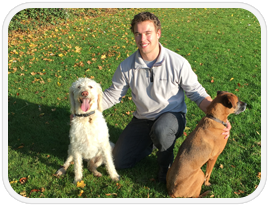 Stephen O'Keeffe with his dogs, Teddy and Heide